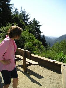 Linda at the Overlook Bench looking down the San Lorenzo River valley to Santa Cruz.