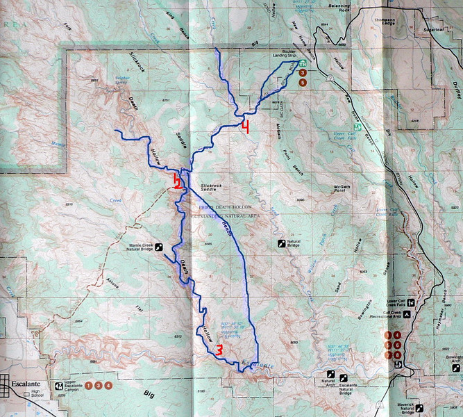 Our route (blue) with campsites in red.