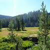 Crater Meadow is beautiful.  PCT is somewhere across the meadow and to the right.