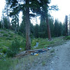 Campsite, trail and spring-fed stream.