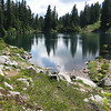 Ridge Lake, about 2 miles further from Kendall catwalk. Sports plenty of nice camp sites with lake views.