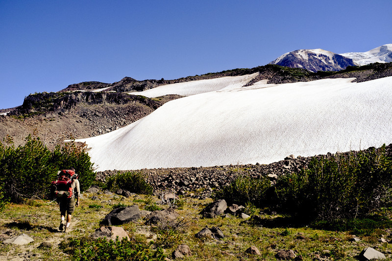 Hiking up, first snowfield.