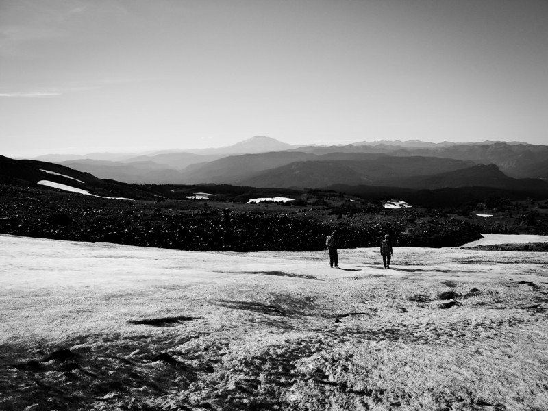 Snowfield with a St. Helens view