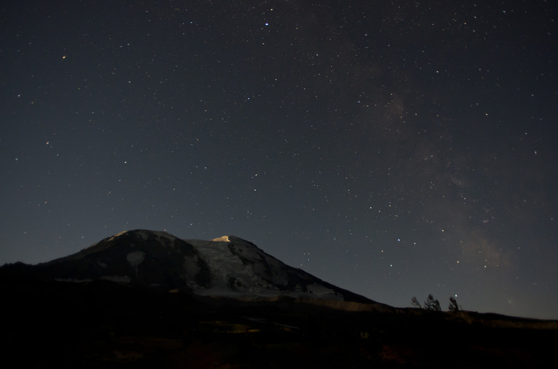 Mt Adams and a galaxy