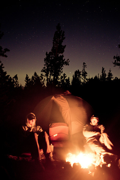 Campfire and stars