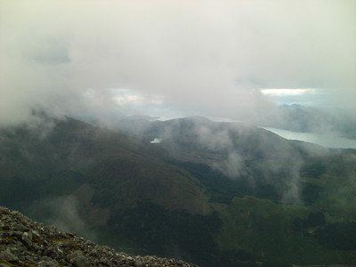 Dropping out of the cloud high above Glen Nevis
