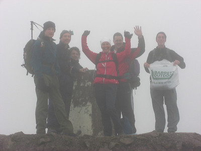 The team on Ben Nevis summit: Rich, Geoff, Tim, Nicci, Andy and Steve holding the bag (ask Seth about that!)