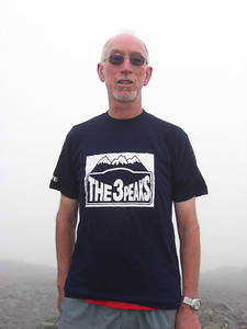 Me on Scafell Pike summit - in the T shirt Lesley gave me for the walk
