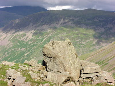 From Lingmell slopes across to Yewbarrow with Seatallan beyond in cloud