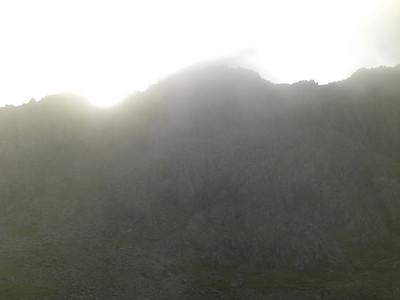 Sun breaks over Scafell Pike