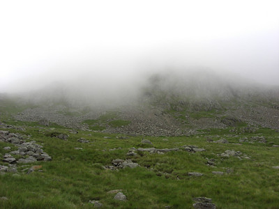 Scafell Pike totally lost in the clouds