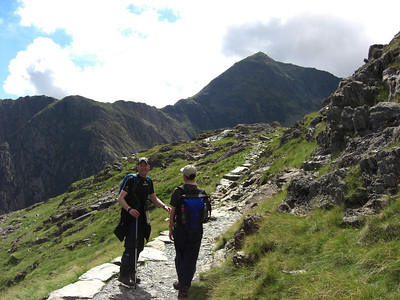 Seth and Geoff on the PYG track: first full view of Snowdon