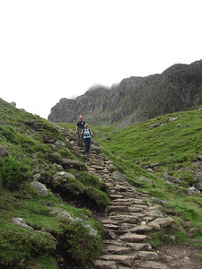 Rich and Nicci on the horrid steps below Lingmell Scars