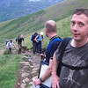 Starting up Scafell Pike, Geoff in the lead (as usual).  Behind him, in order: Seth's bald patch, Nicci, Tim, Rich and Andy
