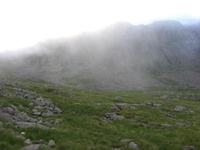 First glimpse of Scafell Pike summit - after we had left it