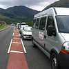 The tailback at Ballachulish Bridge - Adrian (at the wheel of the minibus) waits for information