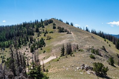 Looking down on Old Monarch Pass, CDT trail going to the right