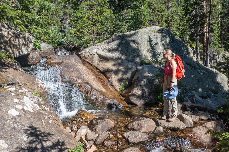 """Stef admiring """"huge"""" waterfall"""
