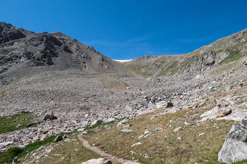 Rocky trail to pass above Lake Ann