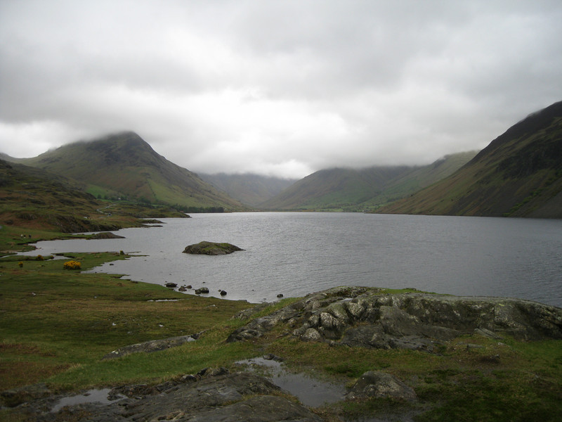 View over Wastwater towards Kirk Fell and Great Gable (hidden in cloud) with Yewbarrow on the left.