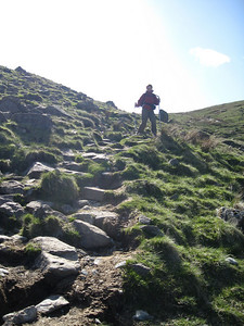 Angela descending from Greenup Edge