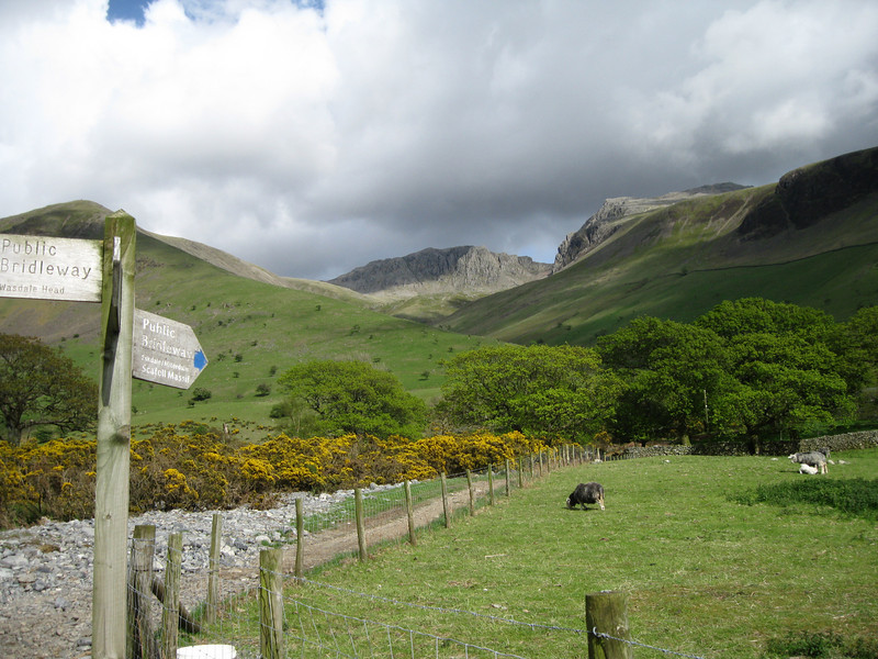 The path up to Scafell Pike by Lingmell Gill