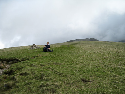 Angela on the slopes of Lingmell