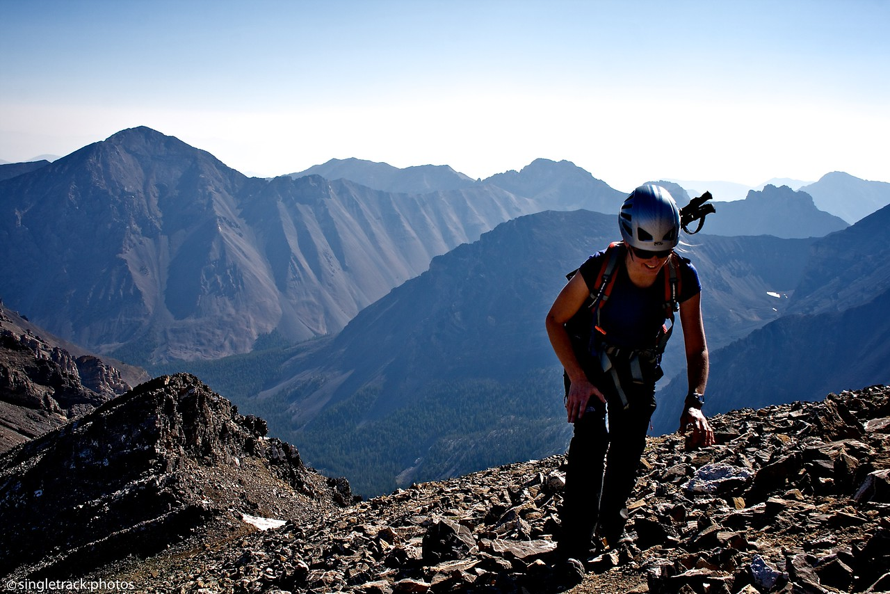 Working the ridge to the top of Leatherman Peak (12,228 ft).