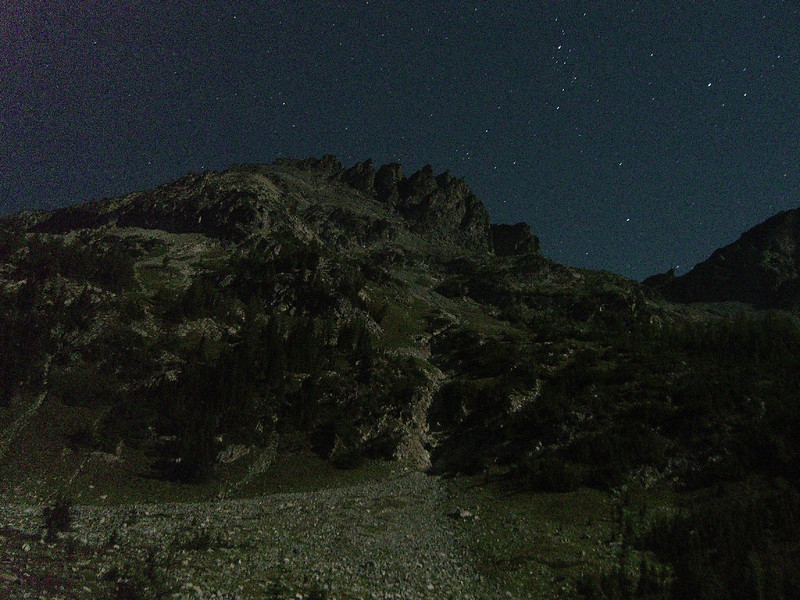 Night photo of Seven Fingered Jack (40 second exposure)