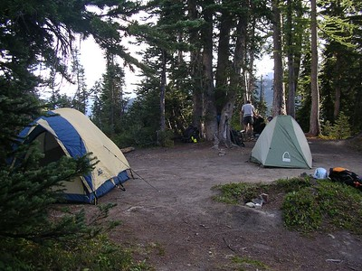 Our campsite ~ my tiny little green Sierra Designs tent.