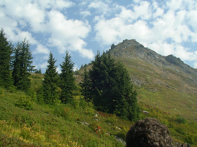 We hiked the trail to Monogram Lake up to this point, and then started off trail, heading up to this ridge.