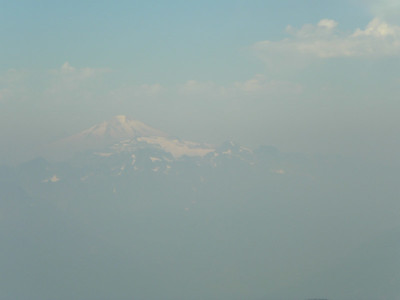 Views of big mountains in all that smoke!