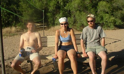 Scott, Martina, Aaron on a very very hot day, cooling off in teh Colorado river