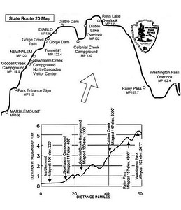 This is the bike route, although we started at Newhalem, a little farther than the start of this map, and ended at Mazama, past this map.   Look at the elevation profile!