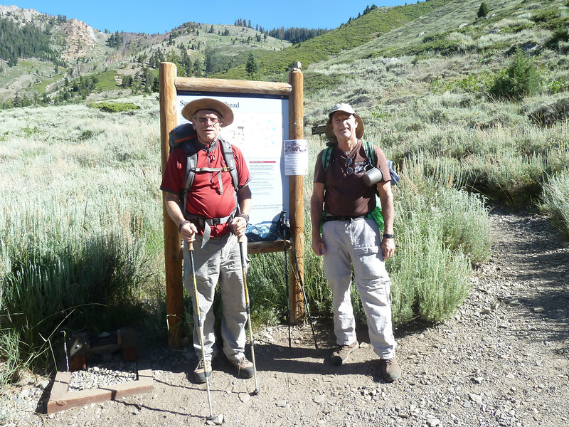 Larry and Steve, at Mineral King, Sawtooth trail head.  Ready to start hiking.