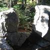 Split rock at trail junction