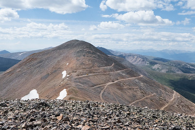 Looking back at Mosquito Peak from Treasurevault.  A lot of mining roads!