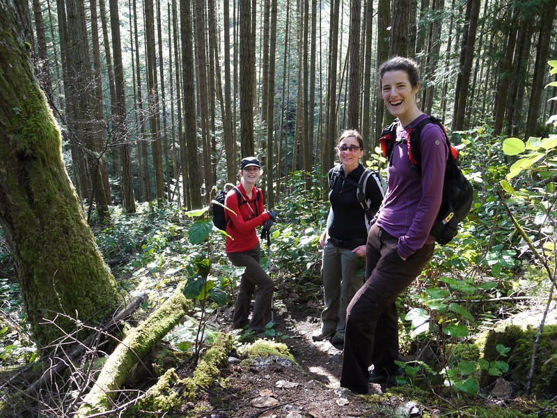 "Kim, Francoise and Sara hiking up Mt. McDonald on March 21 for our "" Randonnee en Francais""."