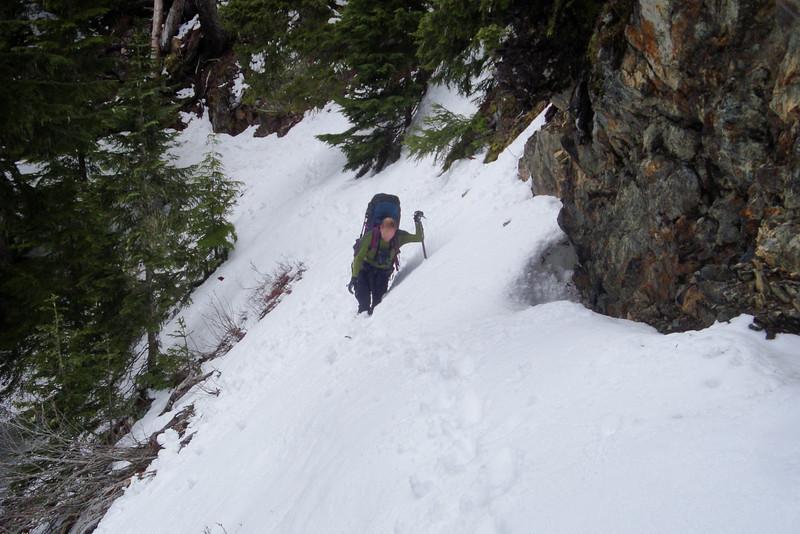 A narrow ledge to get up to Glacier Meadows