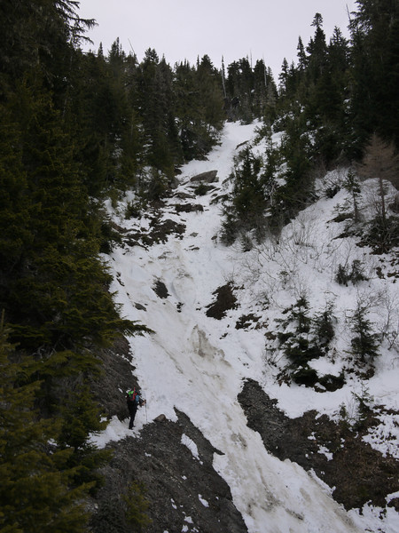 One of the three avalanche slopes we crossed. Note the concrete like, melted snow.