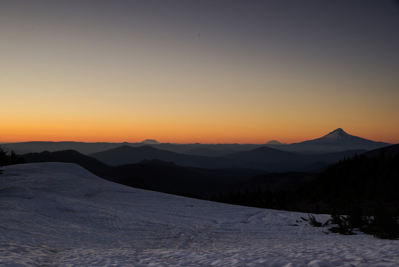 Sunset with St. Helens, Rainier, and Hood view