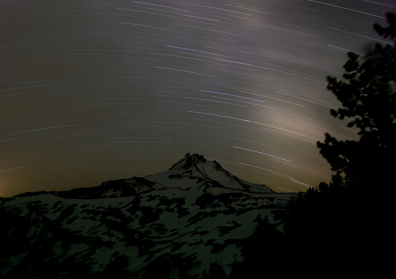Two hour midnight exposure with star trails