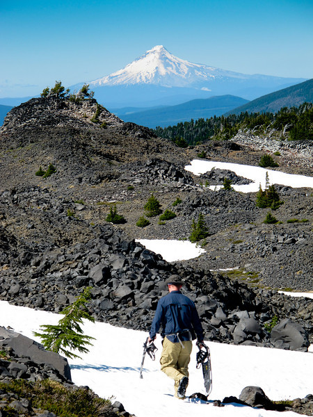 Snowfields, loose rock and Mt. Hood