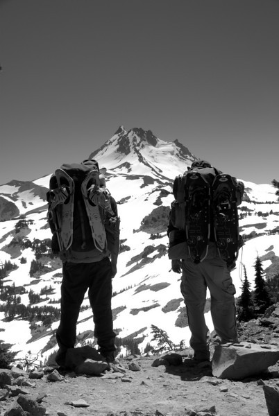 Mt. jefferson and full backpacks