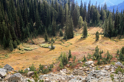 We came to this meadow, and at 6700 feet, left the trail to go xc to the summit.
