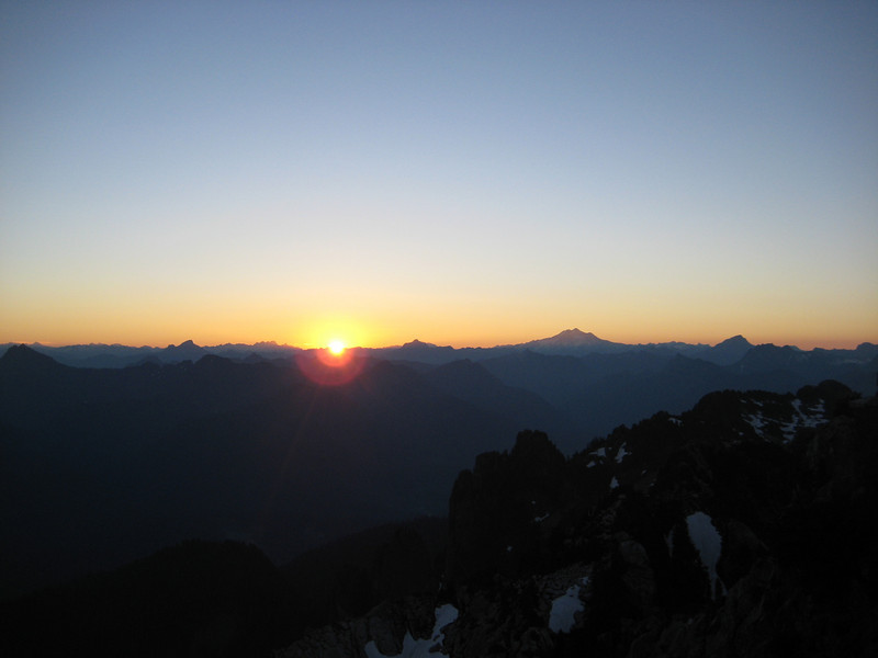 Next morning, sun breaks out in the East, next to Glacier Peak