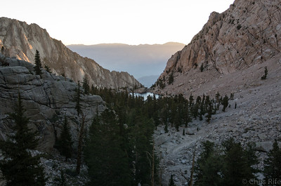Sun comes up behind Lone Pine Lake