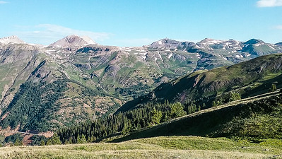 View to yesterday's hike across the valley.  Porphyry Basin is just below the big peak left of center.