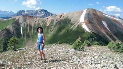 Stef has conquered Nancy's Grassy Peak!  Anvil Mountain in right background.