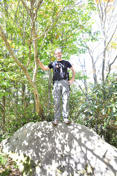 This rock was at our highest peak for the day, Haoe Bald which is at 5249 feet. Scott was trying to reach 5280, but fell a few feet short, maybe if he had climbed the tree... :-)